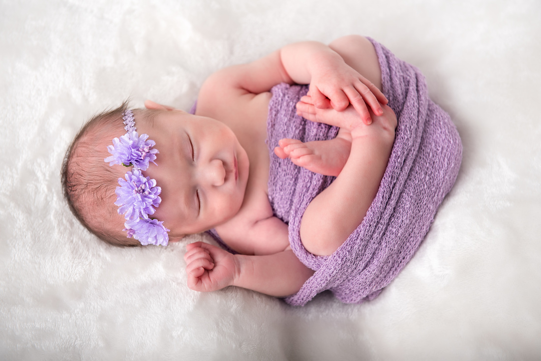 baby girl curled up photography session in purple
